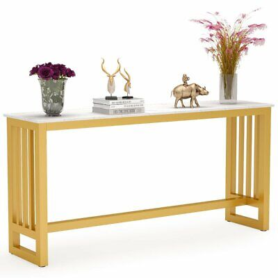 Tribesigns Console Table Behind Couch Table with Faux Marble Top and Gold Frame Gold Marble Top Console Table