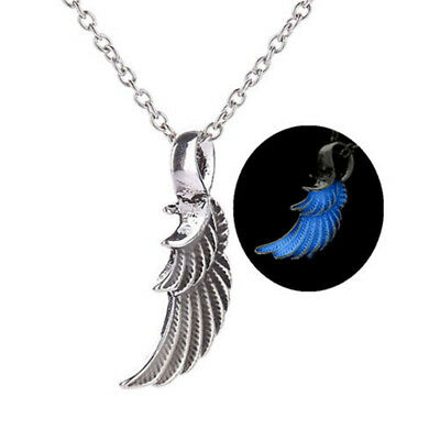 Glow In The Dark Blue Angel Wing Pendant Necklace Luminous Jewelry For Men Women