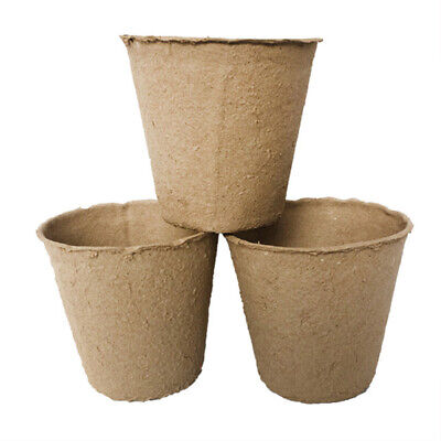 100Pcs Biodegradable Paper Pulp Peat Pots Plant Nursery Cup Tray Garden Welcome Baskets, Pots & Window Boxes