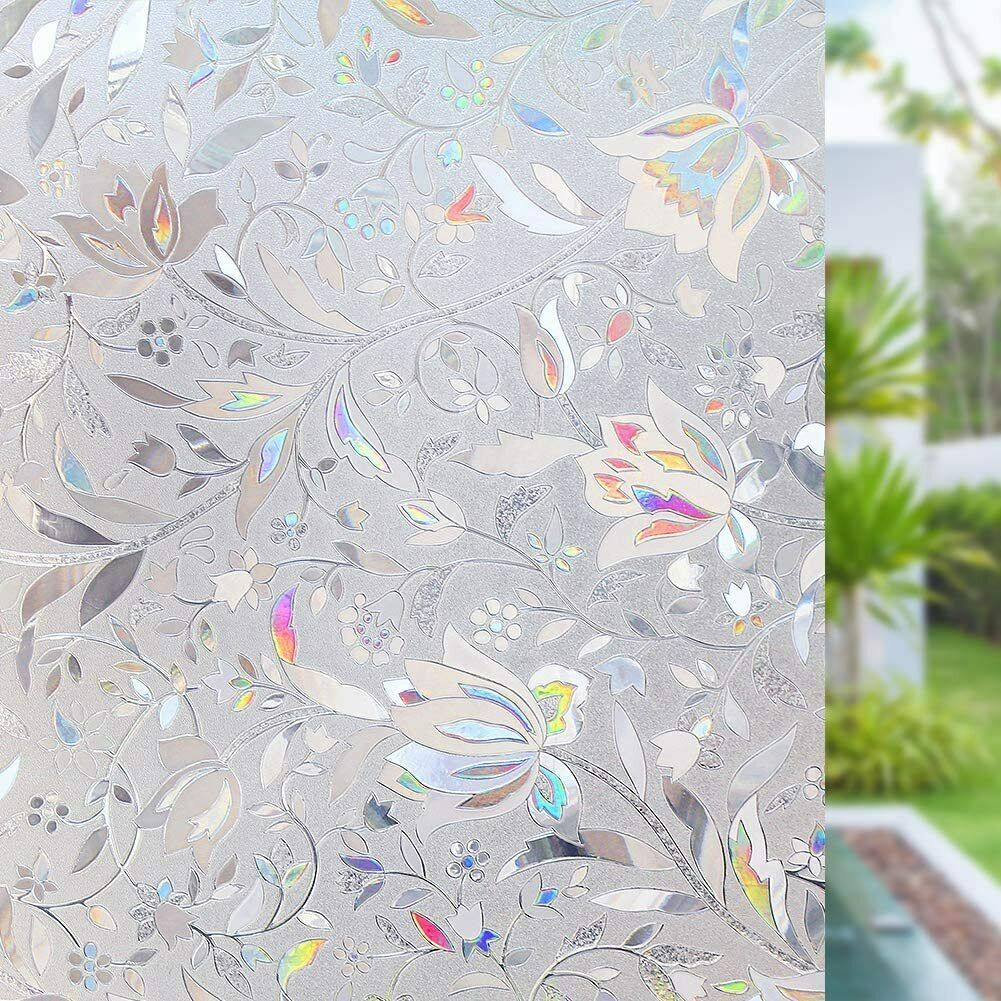 RABBITGOO 3D Window Film Frosted Stained Glass Flower Static