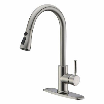 WEWE Single Level /Handle High Arc Brushed Nickel Pull out Kitchen Sink Faucet  01 Kitchen Faucet