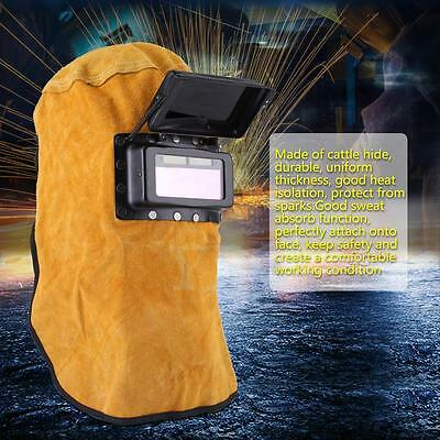 Leather Hood Welding Helmet Mask Solar Auto Darkening Filter Lens Welder Af