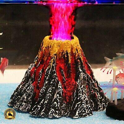 Aquarium Volcano Led Fish Tank Decorations Bubbler Ornament Bubble Air Stone NEW - Bubble Decorations