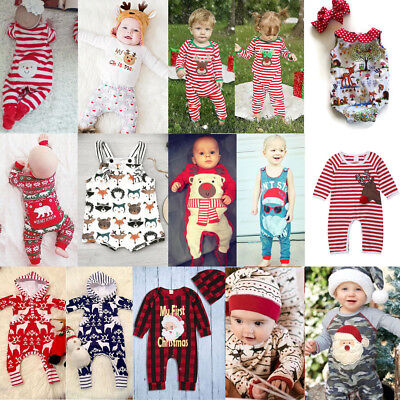 US Newborn Baby Boy Girl Christmas Reindeer Romper Jumpsuit Clothes Outfits +Hat](Baby Christmas Reindeer Outfit)