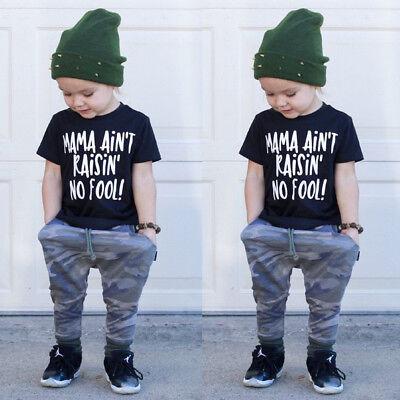 Summer Newborn Baby Boy 2PCS Toddler Clothes T-shirt Tops+Camo Long Pants -
