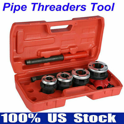 1 Set Manual Plumber Pipe Threading Kit 4 Dies 12 34 1 1-14 Threader Tool