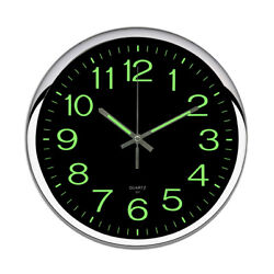 OCEST 12'' Large Number Quartz Wall Clocks Non-ticking Glow In Dark Night Lights