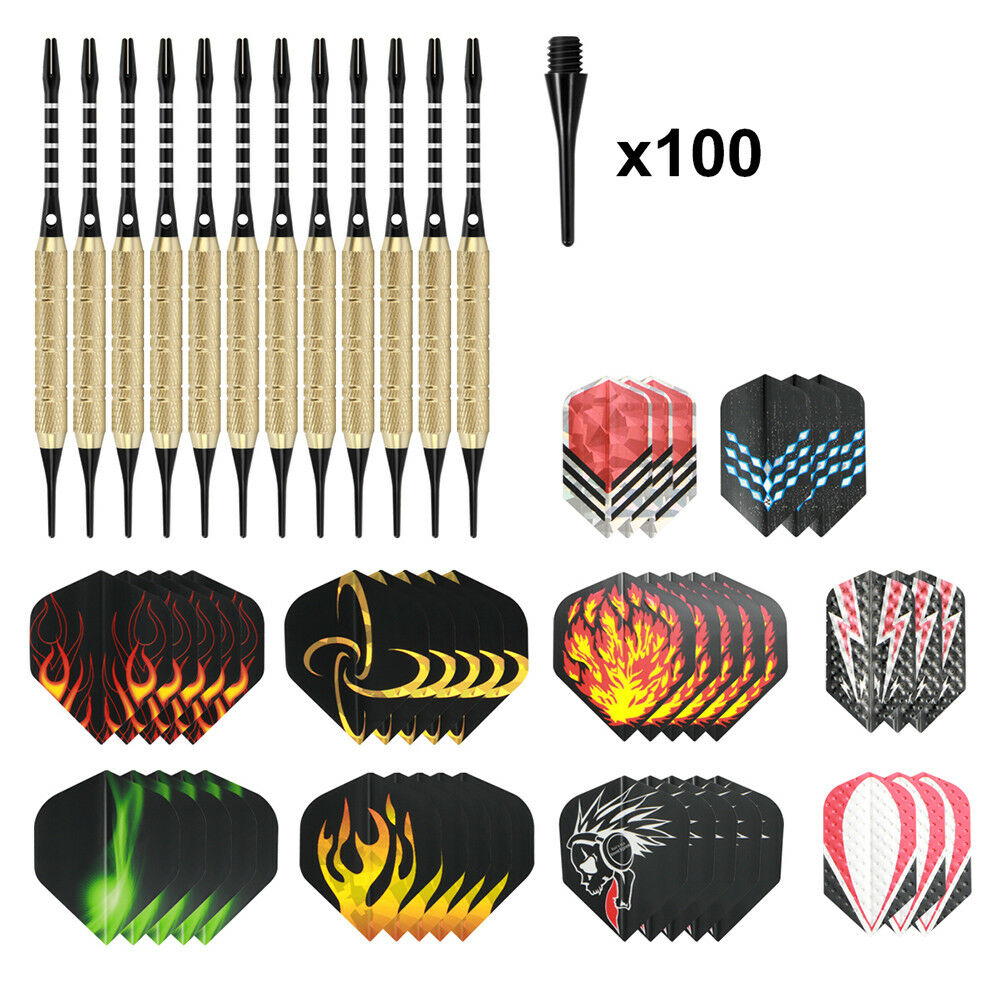 12 Dartpfeile mit 100 Dartspitzen Flamme Soft-Dartpfeile 4 Sets je 3 Flights