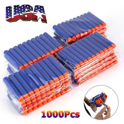 USA 1000PCS Bullet Darts For NERF Kids Toy Gun N-Strike Round Head Blasters Blue