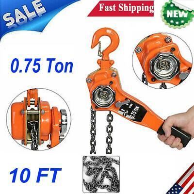 34 Ton 10 Ft Chain Lever Block Hoist Come Along Ratchet Lifting Tool Heavy Duty