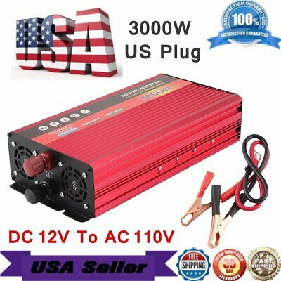 3000W WATT Peak Car Power Inverter DC 12V to AC 110V Dual Converter Charger covid 19 (Dc Peak Power Charger coronavirus)