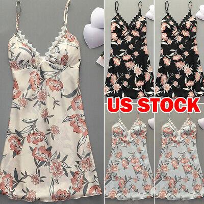 Lace V-neck Nightgown (New Women V-neck Satin Silk Lace Lingerie Pajama Night Dress Nightgown Sleepwear )