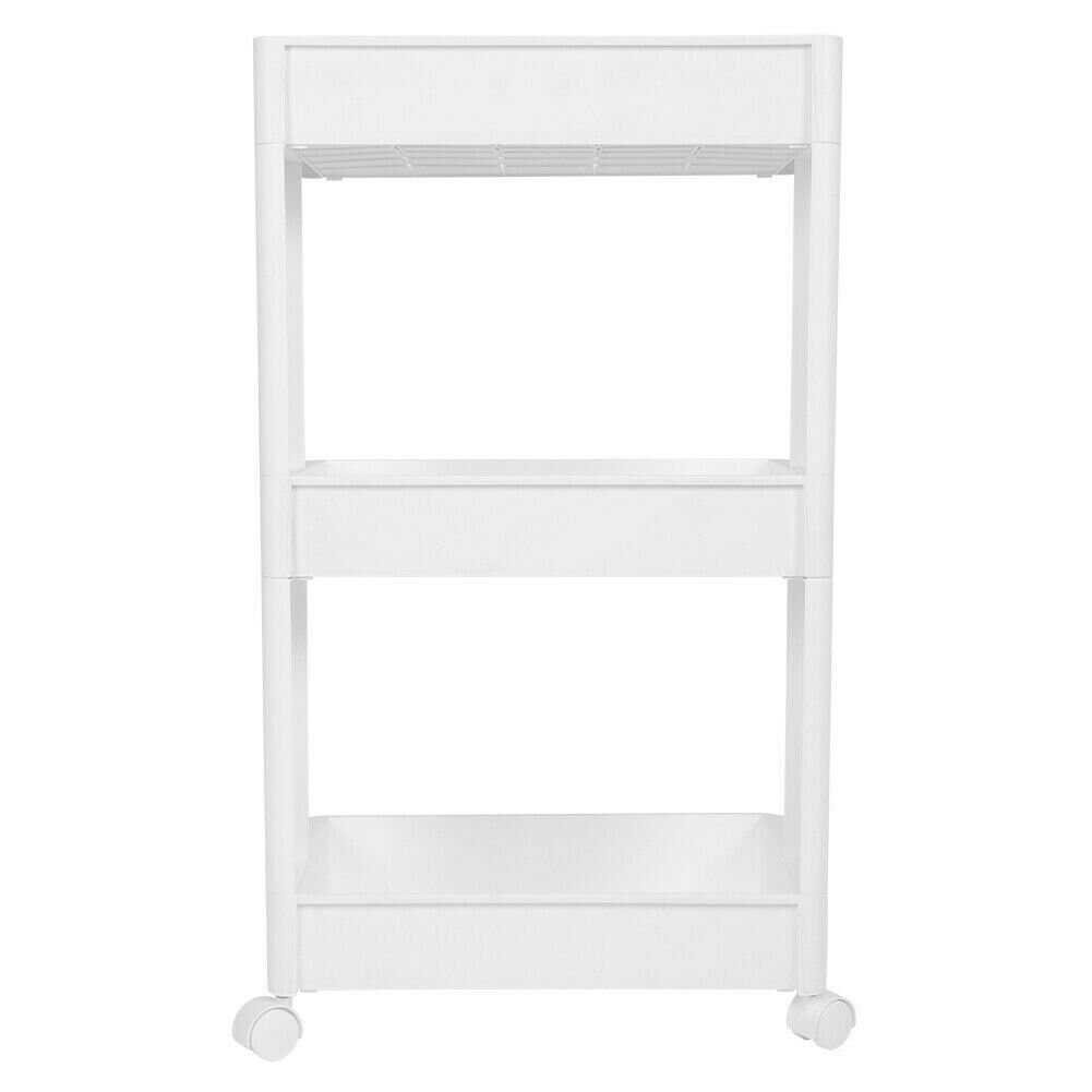 White 3 Tier Shelves Trolley Plastic With Wheels Bathroom ...