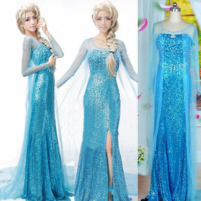 Luxury Frozen adult dress Elsa queen princess performance dress cosplay costumes (Adult Princess Elsa Costume)