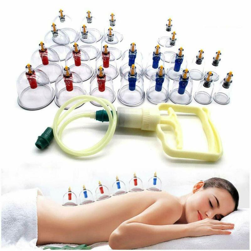 12 / 24 Cups Medical Chinese Vacuum Cupping Body Massage Therapy Healthy Suction