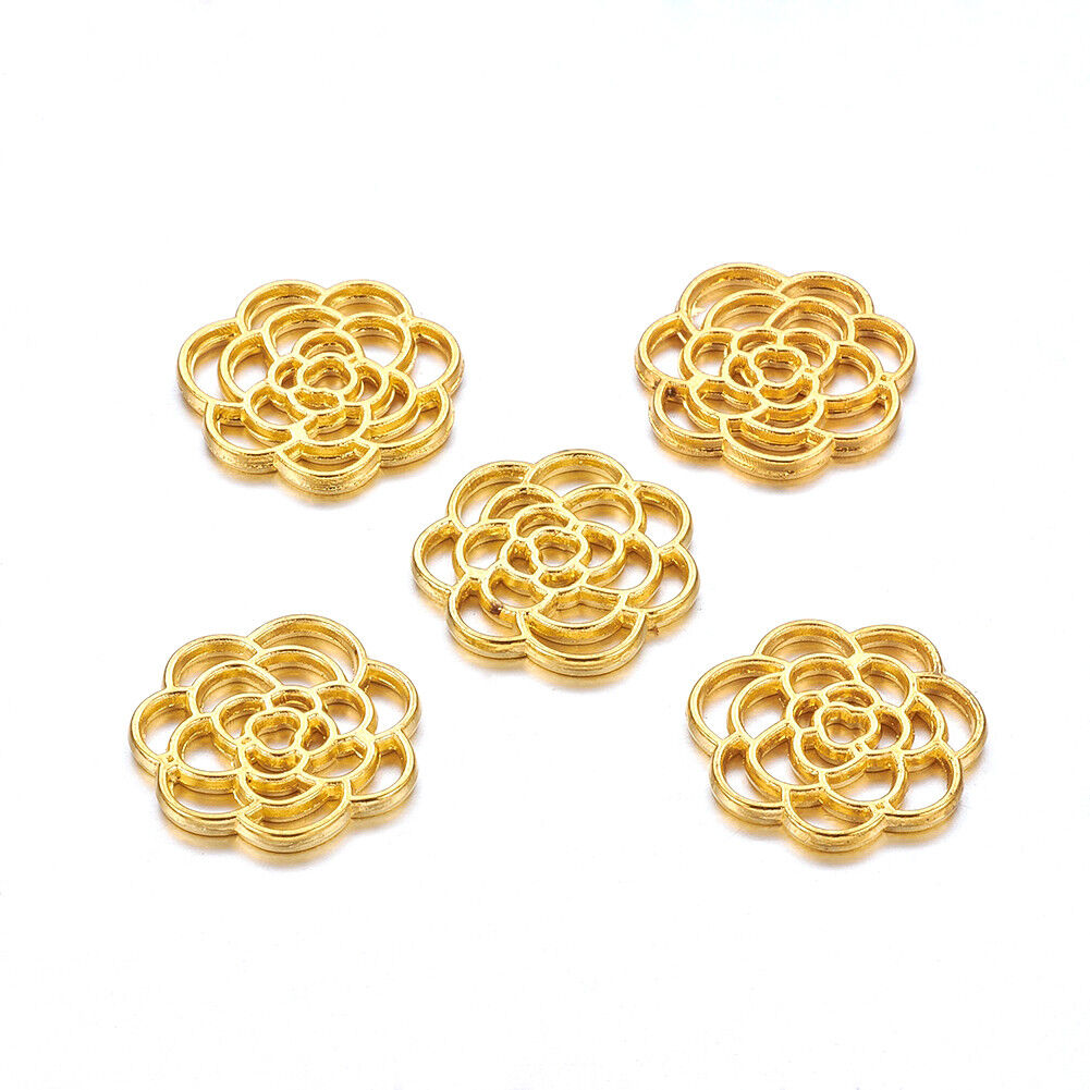 100pcs Rose Gold Tibetan Alloy Filigree Flower Pendants Joiner Connectors 29x1mm