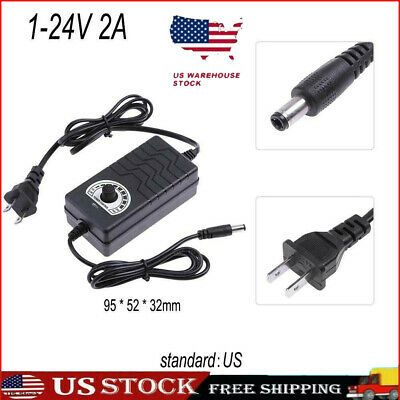 Ac To Dc Adapter 3-24v 2a Adjustable Power Supply Motor Speed Controller Us