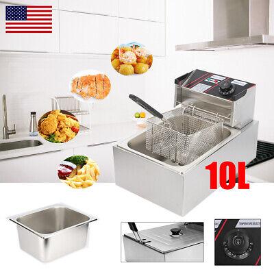 2500w Electric Deep Fryer 10l Commercial Tabletop Restaurant Fry Basket 6l Oil