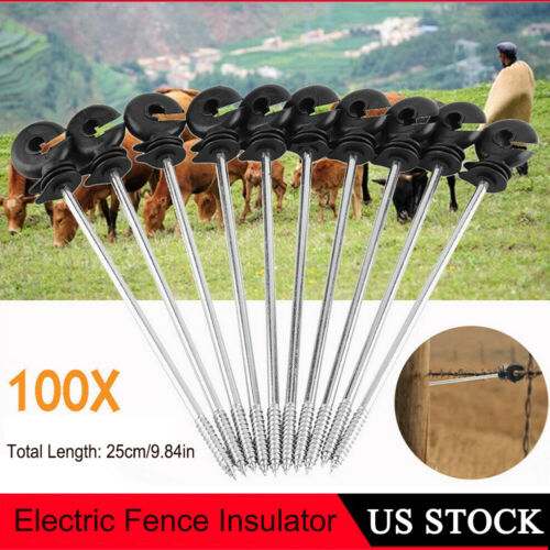 100x Screw In Offset Electric Fence Wood Post Ring Insulator