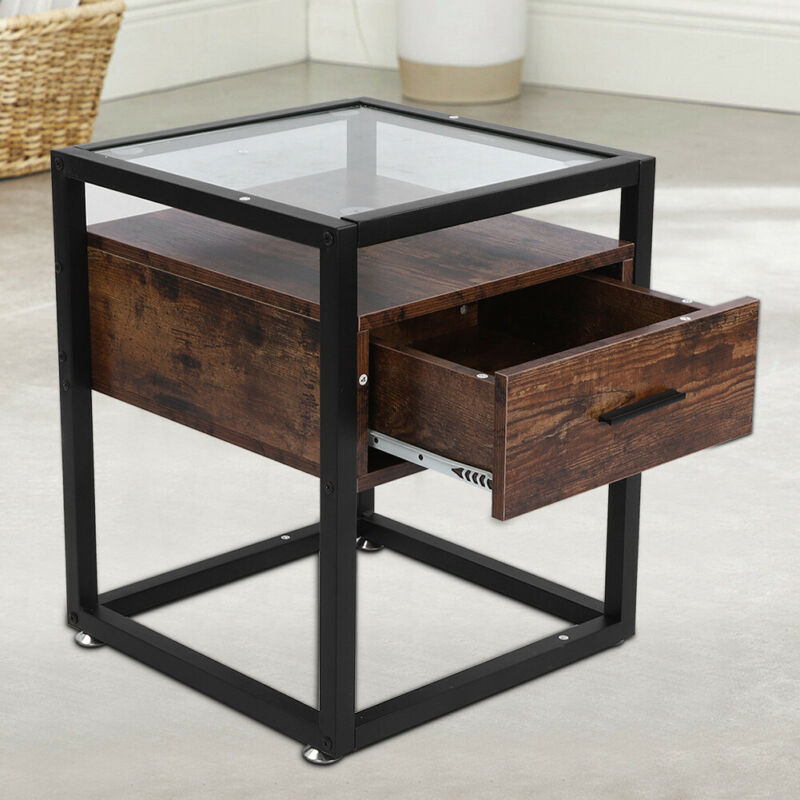 Vintage Coffee Table Tempered Glass Corner Bedside Table for Living Dining Room