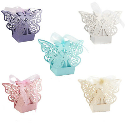 100×Paper Butterfly Cut Sweet Candy Cake Boxes Wedding Party Gifts Favor Case - Cake Favor Boxes