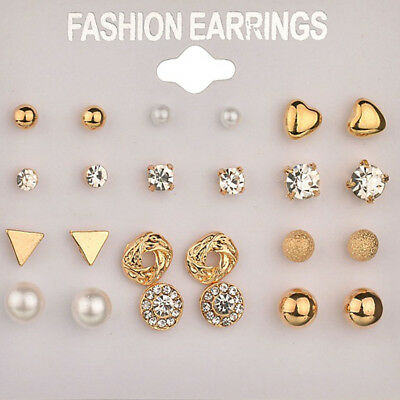 Fashion Diamond Crystal Pearl Earrings Set Women Ear Stud Square Jewelry Gifts