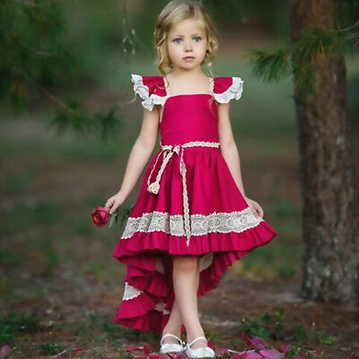 Lace Ruffle Dress Toddler (US Toddler Kids Girl Ruffle Lace Dress Sleevelss Party Pageant)
