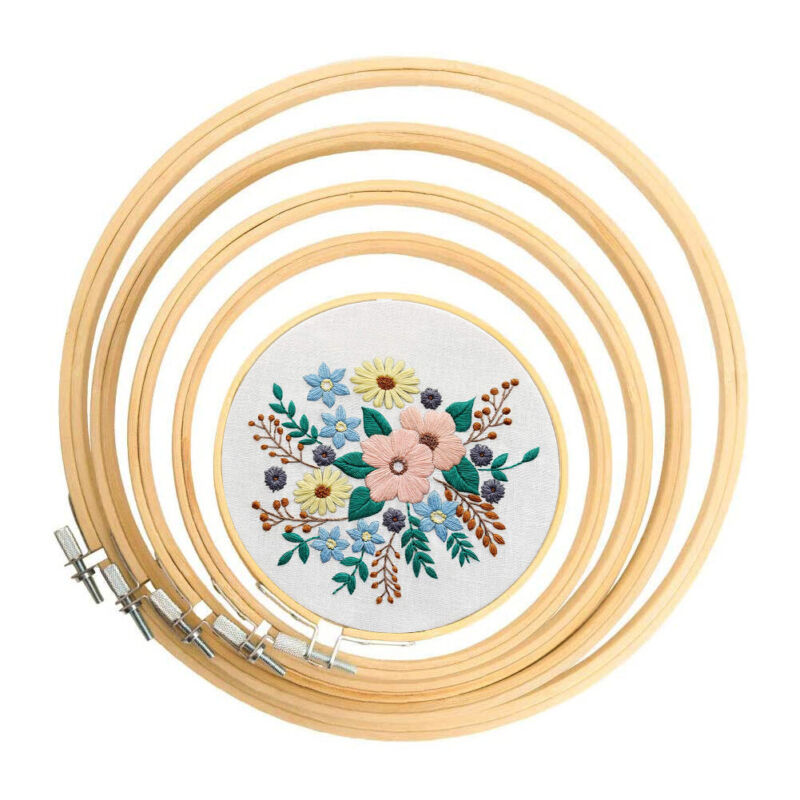 5x DIY Cross Stitch Embroidery Hoops Wooden Frame Ring Circle Sewing Art Craft