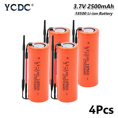 4x 3.7V 2500mAh Li-ion 18500 Battery With Wires Rechargeable Green Power Cell -