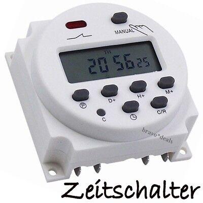 Digital Zeitschaltuhr Programmierbar DC AC 12V 16A LCD Timer Uhr OVP