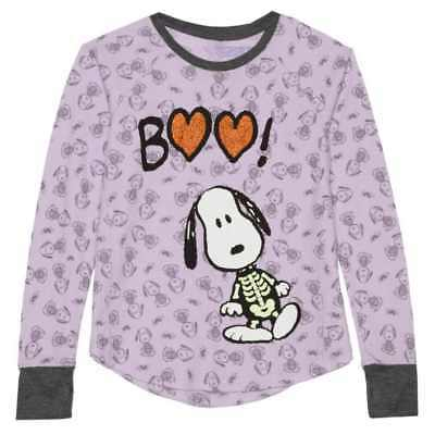 Girls Skeleton Snoopy Halloween Long Sleeve Shirt Boo Purple Glow In The Dark M](Snoopy Halloween Shirt)
