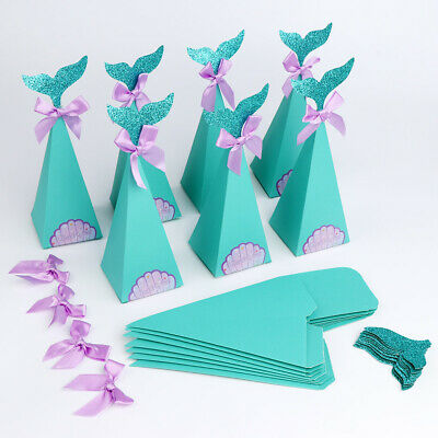 50×Little Mermaid Gift Boxes Paper Sweet Candy Box Kids Birthday Party Favor Box
