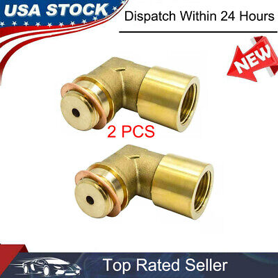 2x M18X1.5 O2 Oxygen Sensor Extender 90Degree Angled Bung Extension Spacer Brass