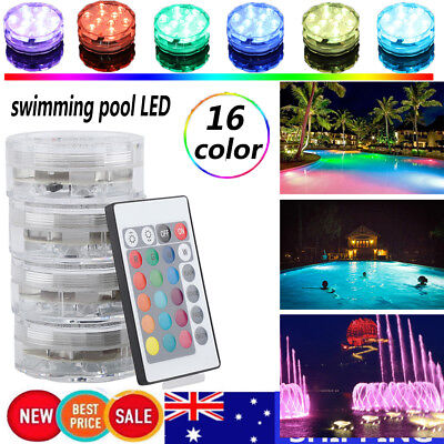 4/8X 16Color 10W RGB Spa Swimming Pool LED Light Underwater Remote Control Lamp
