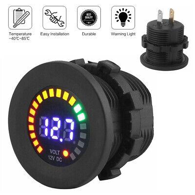 12v Led Car Van Boat Marine Voltmeter Voltage Meter Battery Gauge Waterproof Usa