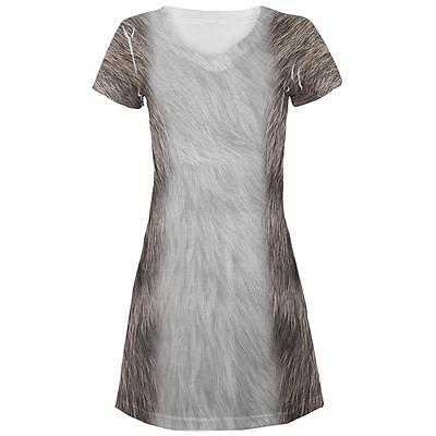 Halloween Grey Cat Costume All Over Juniors Beach Cover-Up Dress