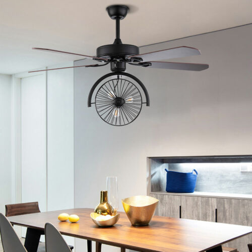 Ceiling Fan with Light Industrial Retractable Blades Vintage Cage Chandelier +RC