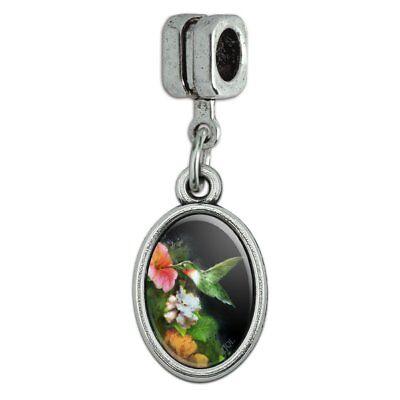 Ruby's Hummingbird Flower Garden Italian European Style Bracelet Oval Charm Bead - Hummingbird Italian Charm