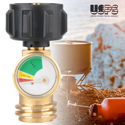 Propane Tank Gauge Grill BBQ RV Pressure Brass Adapter Gas Level Meter Indicator