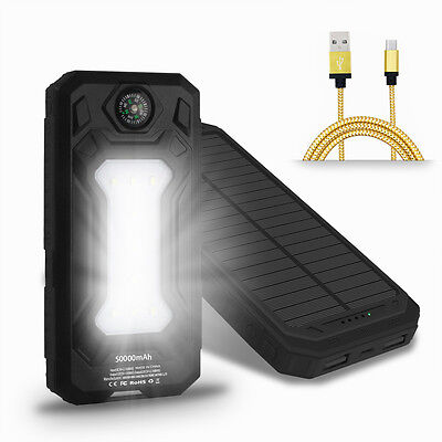 Us 50000Mah Solar Power Bank 9 Led 2 Usb Battery Charger For Phone With Compass