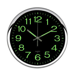 Analog Clock Non Ticking Wall Clock Night Light Home Decorative Quartz 12inch US
