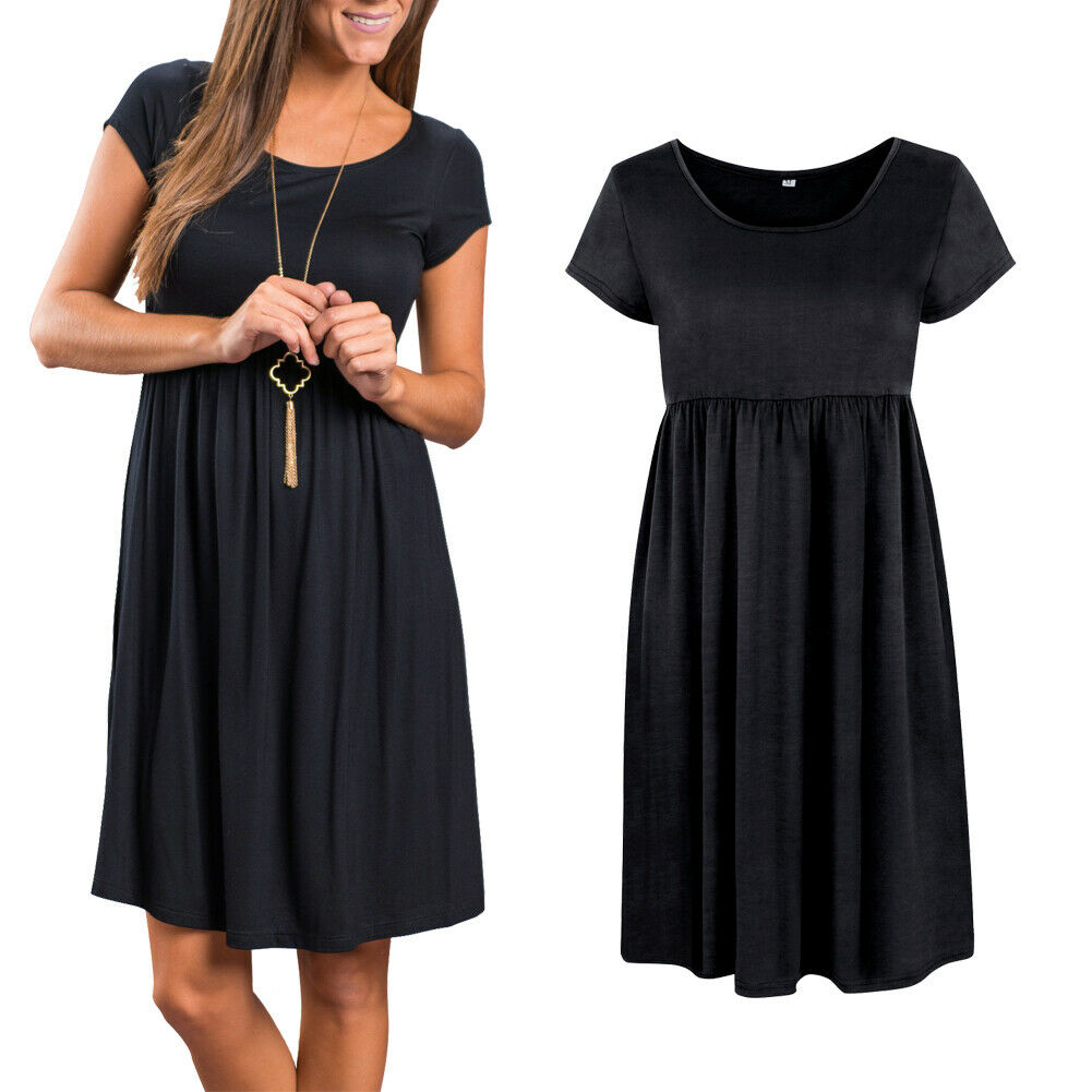 Summer Women Short Sleeve Casual Soft Cotton Short Party Evening Mini Dress US Clothing, Shoes & Accessories