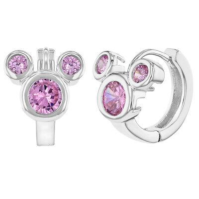 Earrings For Kids (Rhodium Plated Hoop Huggie Mouse Earrings Girls Kids Pink CZ)