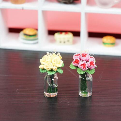 1:12 doll house miniature clay flower yellow/pink rose