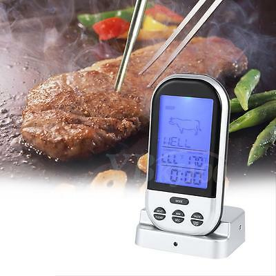 Wireless LCD Remote Thermometer BBQ Grill Meat Kitchen Oven Food Cooking Tool TP