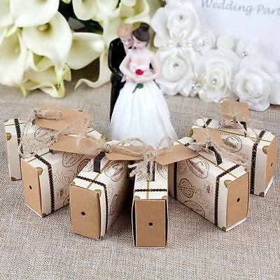 50×Vintage Mini Suitcase Sweet Candy Box Wedding Favors Party Gift Box for Guest - Wedding Boxes For Favors