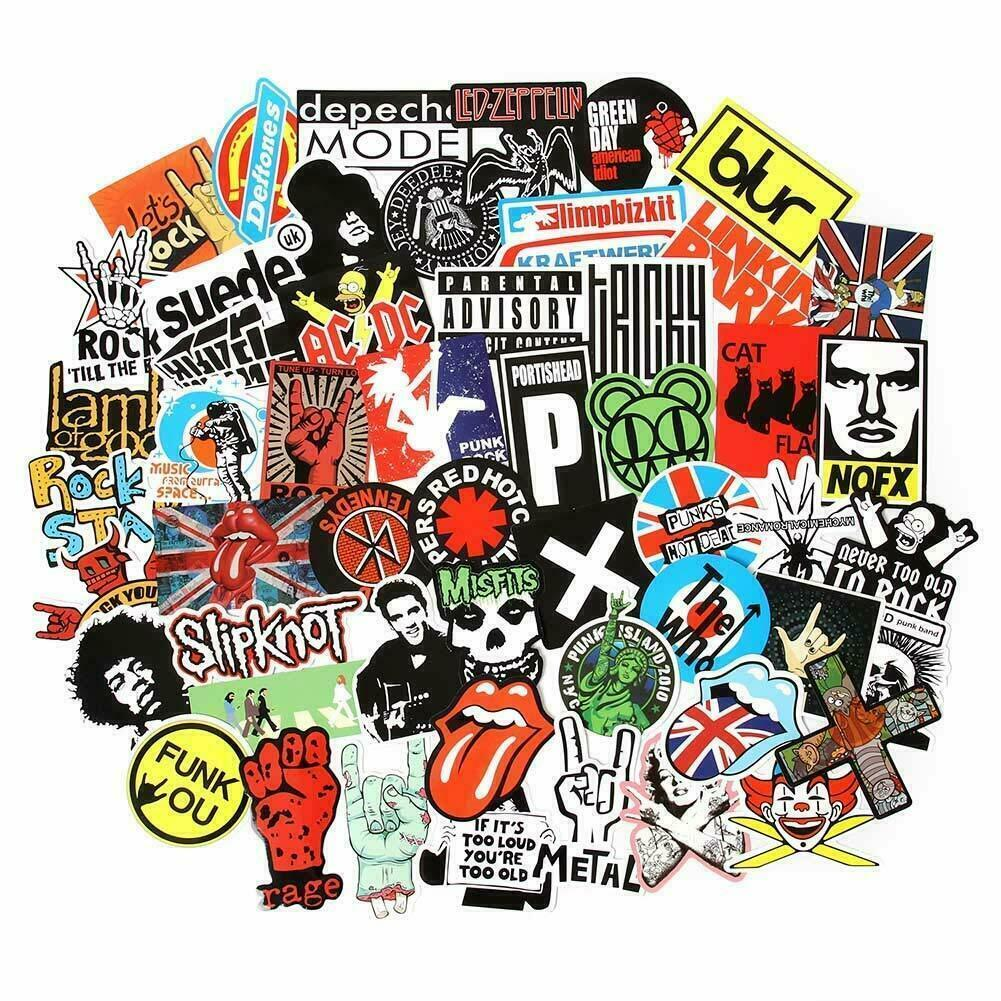 Home Decoration - USA saler 100PCS Rock band sticker Rock and Roll Music Sticker Vinyl Waterproof