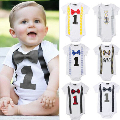 New Baby Boy My First 1st Birthday Party Gentleman Bow Romper Jumpsuit Outfits](1st Birthday Boy Outfits)
