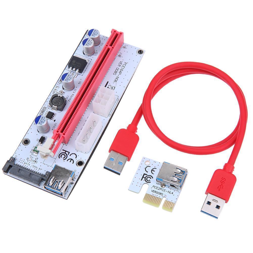как выглядит VER008S PCI-E Express 1X 16X BTC Extender USB3.0 Adapter Riser Card 60cm Cable фото