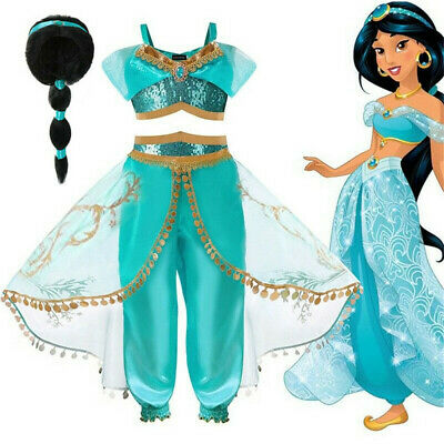 Kids Girls Princess Jasmine Belly Dance Aladdin Costume Fancy Dress Party Outfit